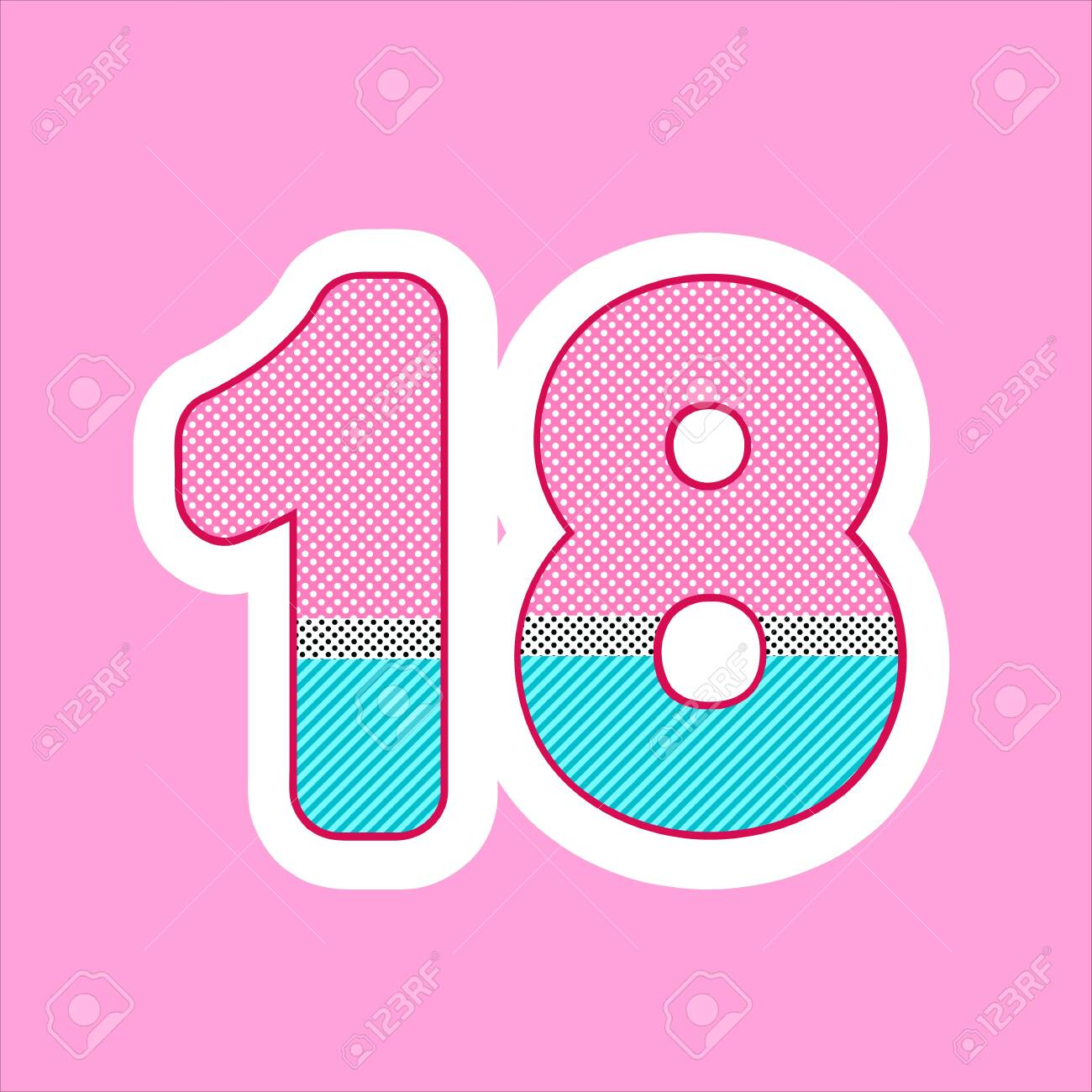 cute figure, number for children's birthday, holiday in the style