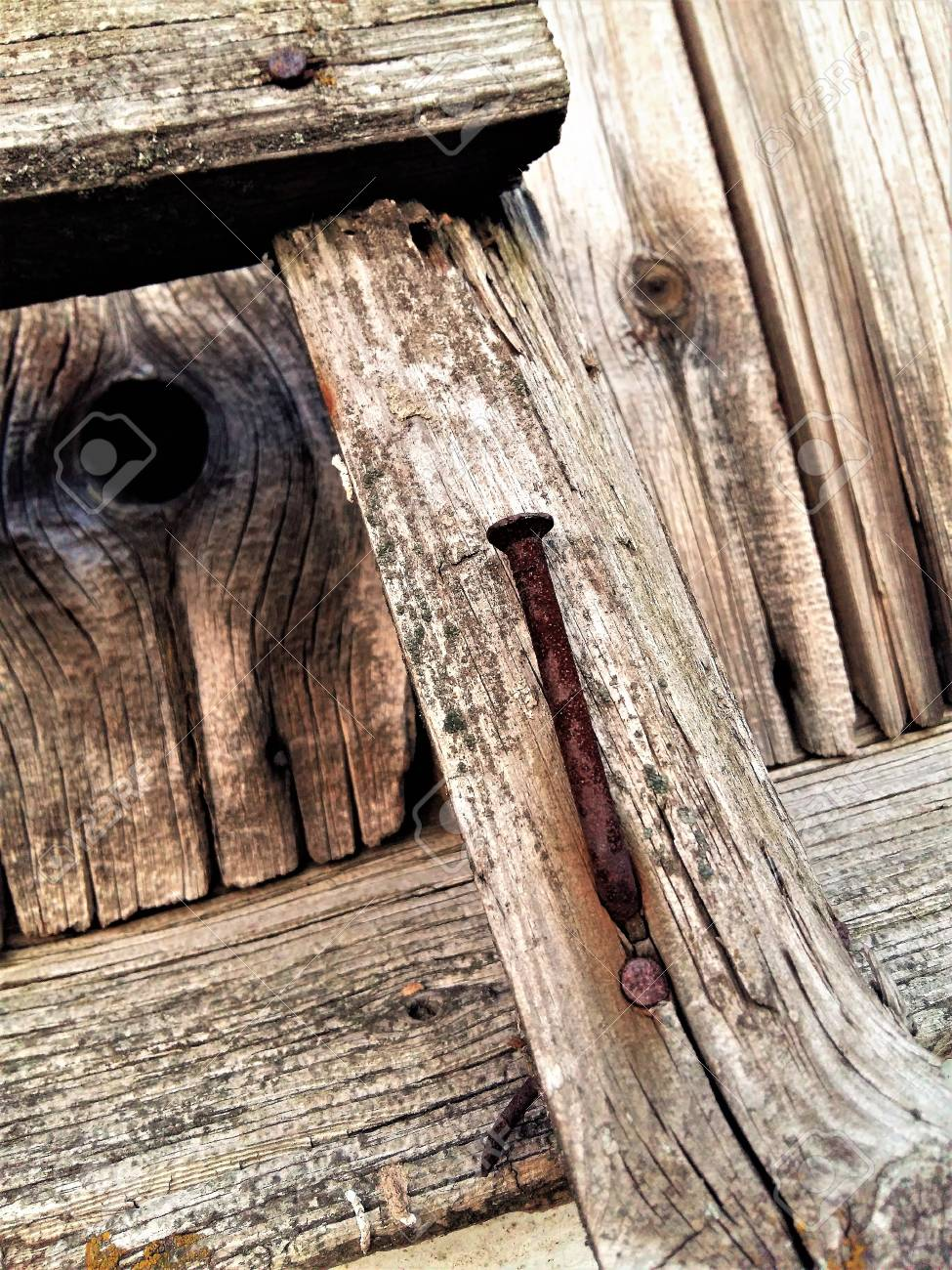 Old Rusty Nail Into A Wooden Fence