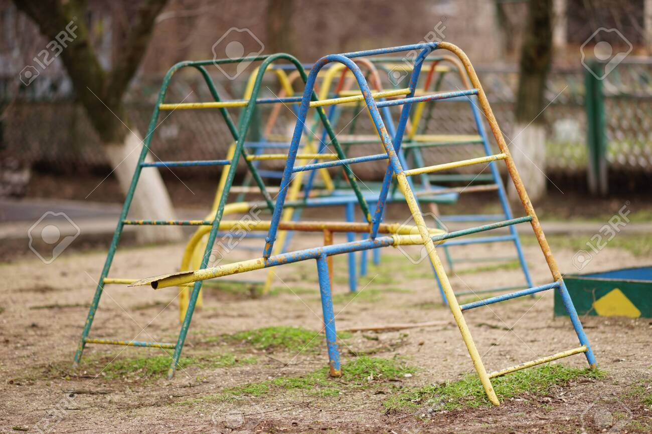 Old Playground Equipment Iron Staircase For Children S Games Stock Photo Picture And Royalty Free Image Image 117450205
