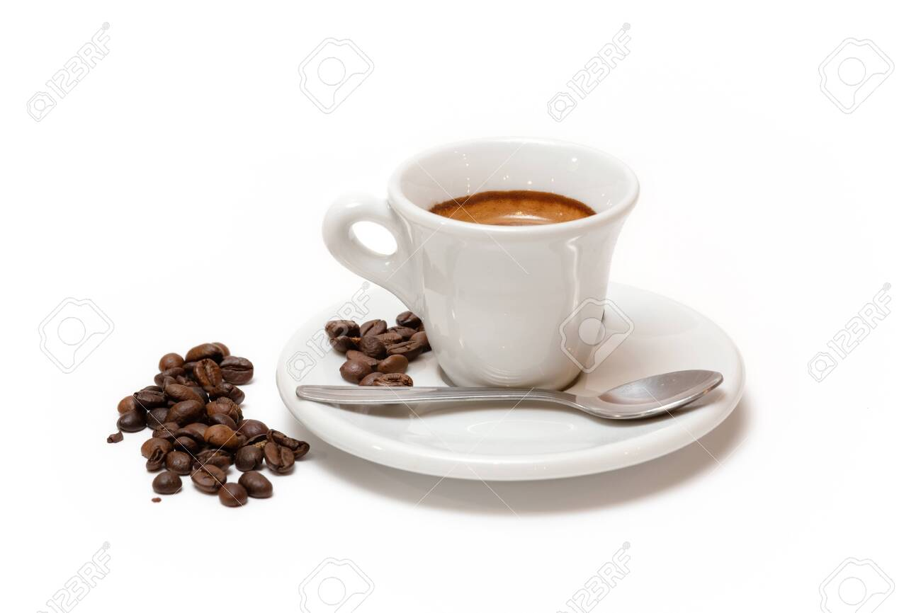 Cup of coffee with milk and toasted coffee beans. Isolated white background - 136818843
