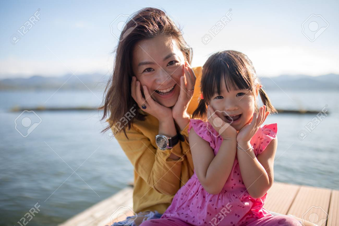 Asian Mother Daughter Pose Smile Faces Together Family Relationship