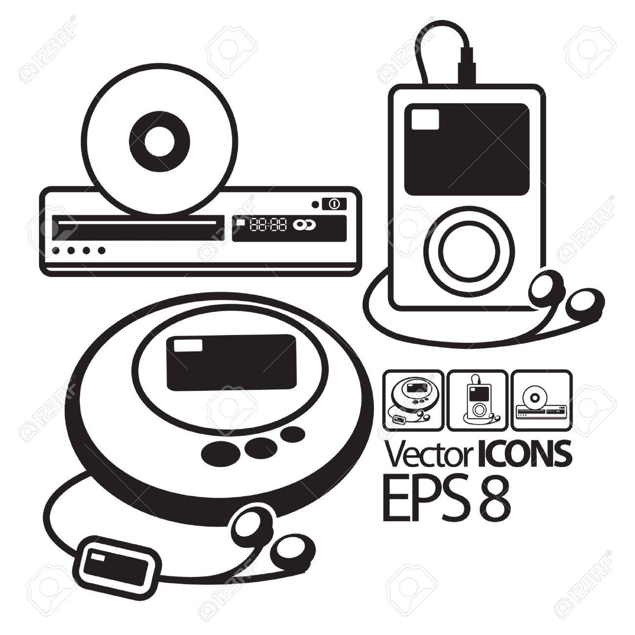 Vector Icons. MP3 Player, CD Player And DVD Player Royalty Free ...