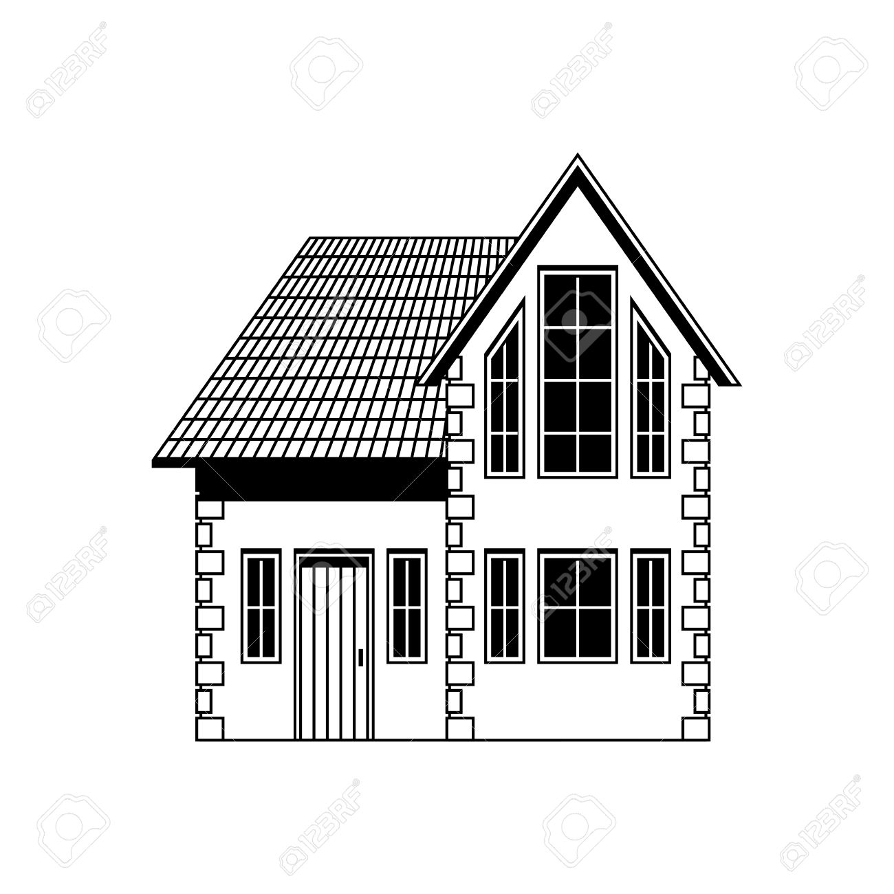 home  freehand drawing  icon black and white illustration Stock Vector - 14527931