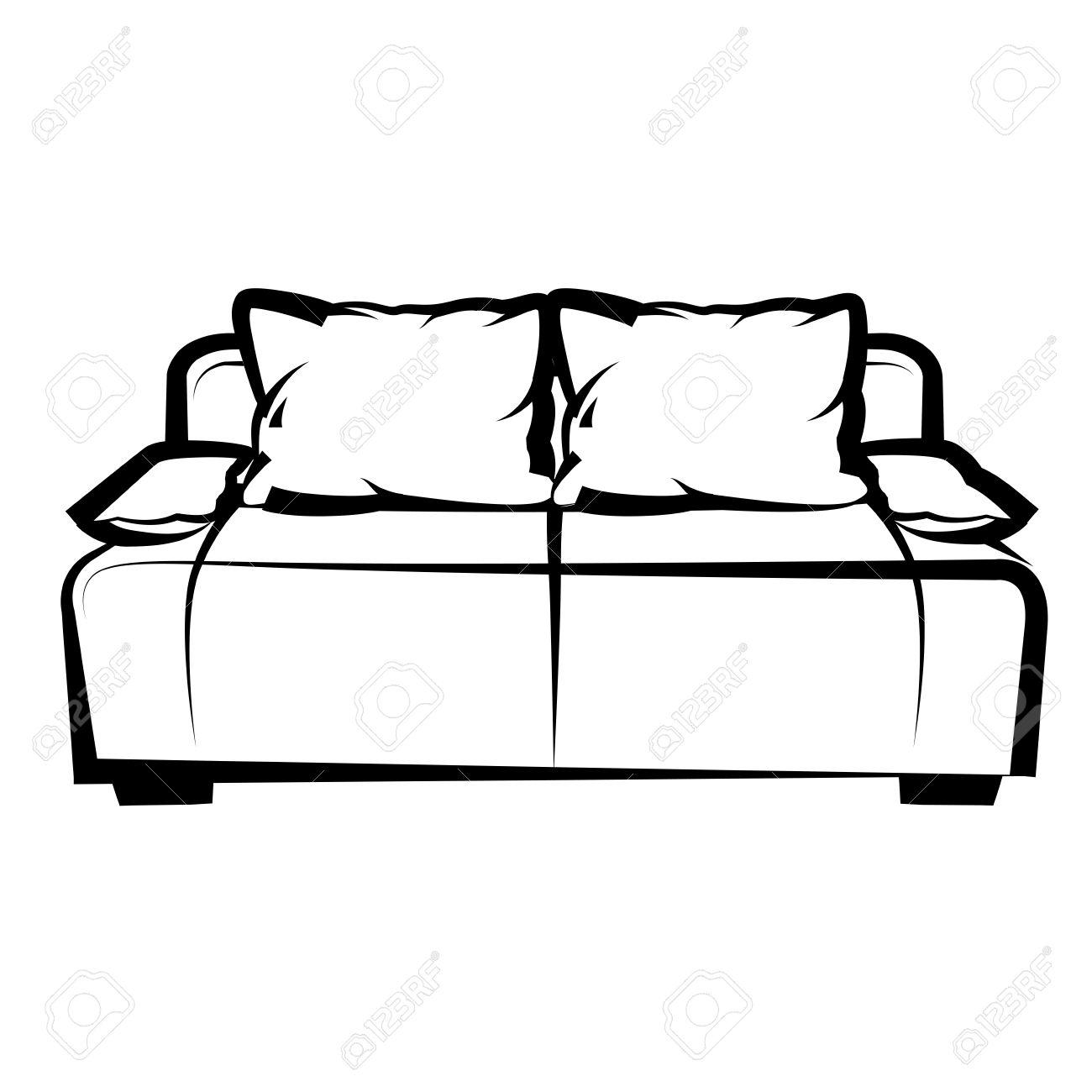 canapé icône de dessin à main levée illustration en noir et blanc