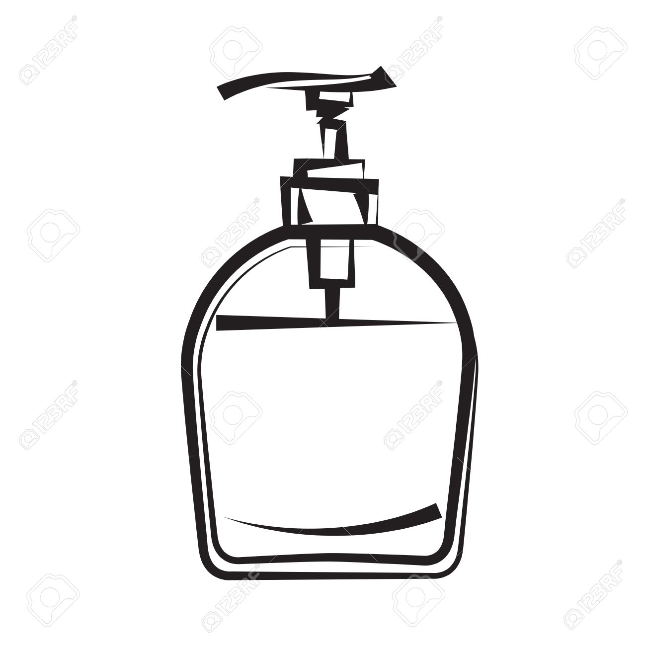 Soap dispenser  freehand drawing  icon black and white  illustration Stock Vector - 14527930