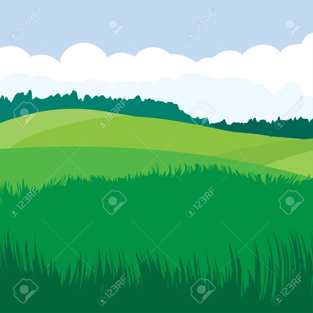 Green landscape Stock Vector - 15596250