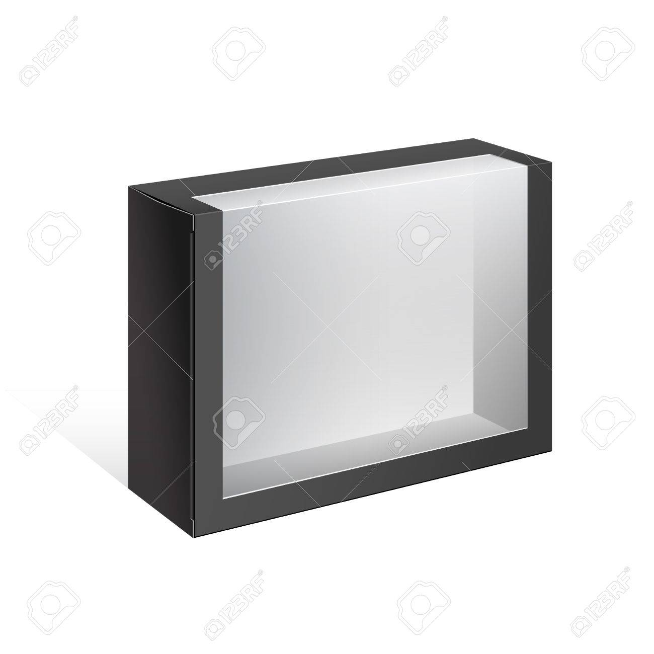 Black Realistic Package Cardboard Box with a transparent plastic window  Vector illustration Stock Vector - 16824328
