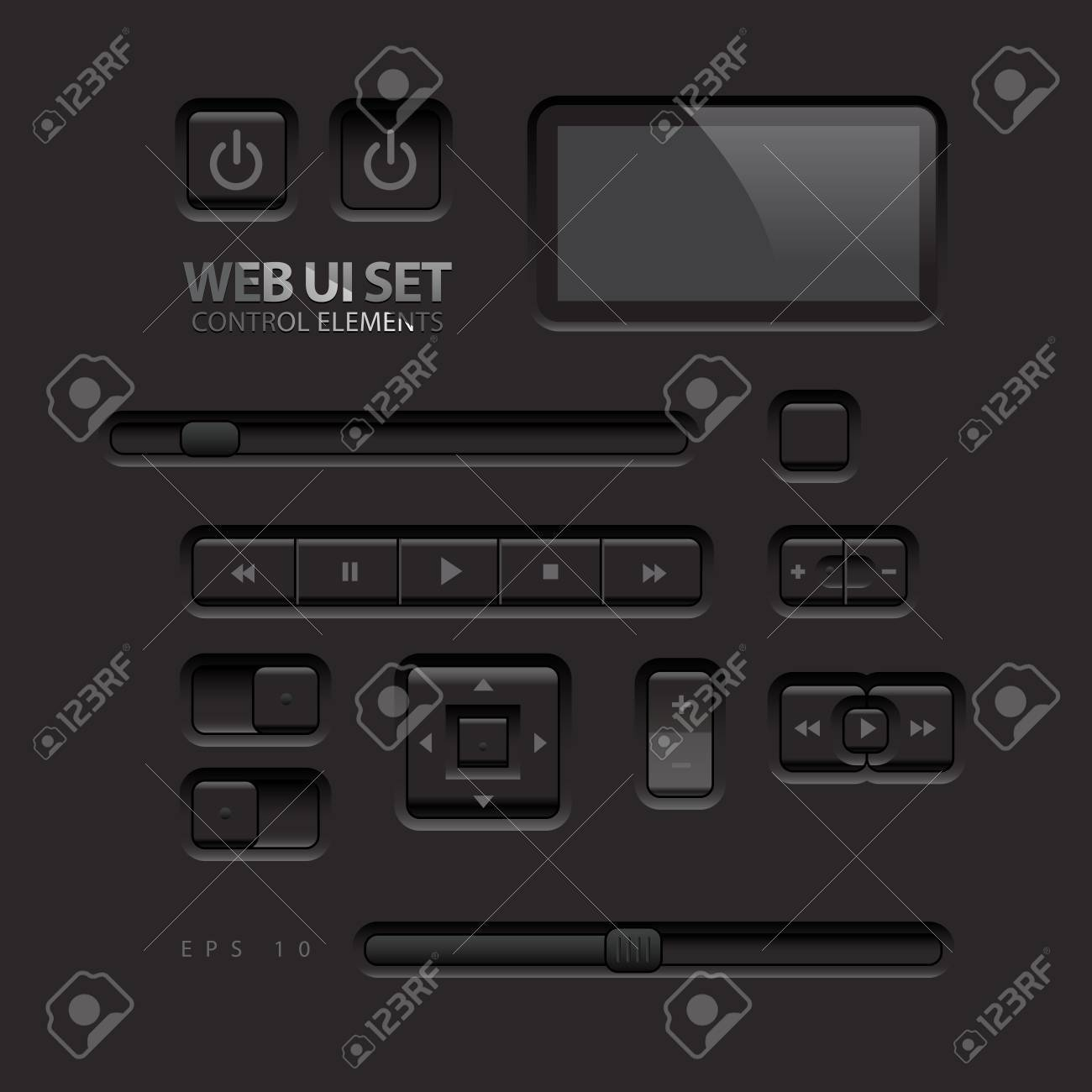 Black Web UI Elements Buttons, Switches, bars, power buttons,
