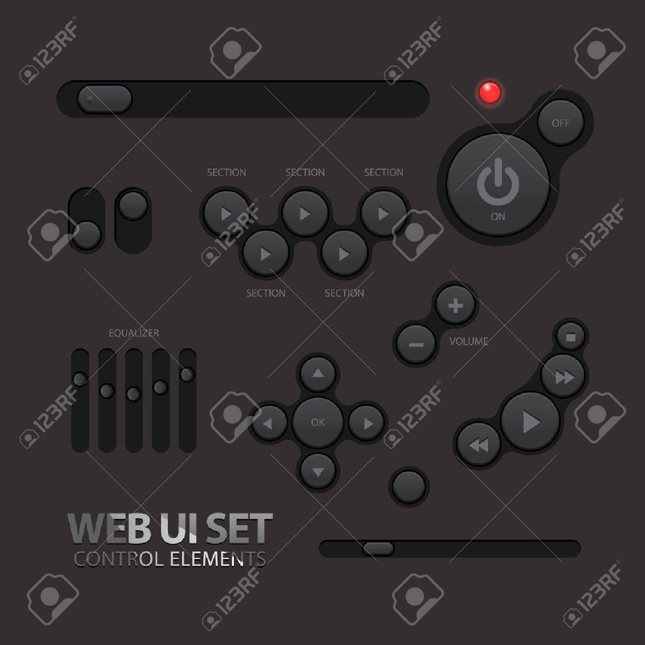Black Web UI Elements  Buttons, Switches Stock Vector - 20233456