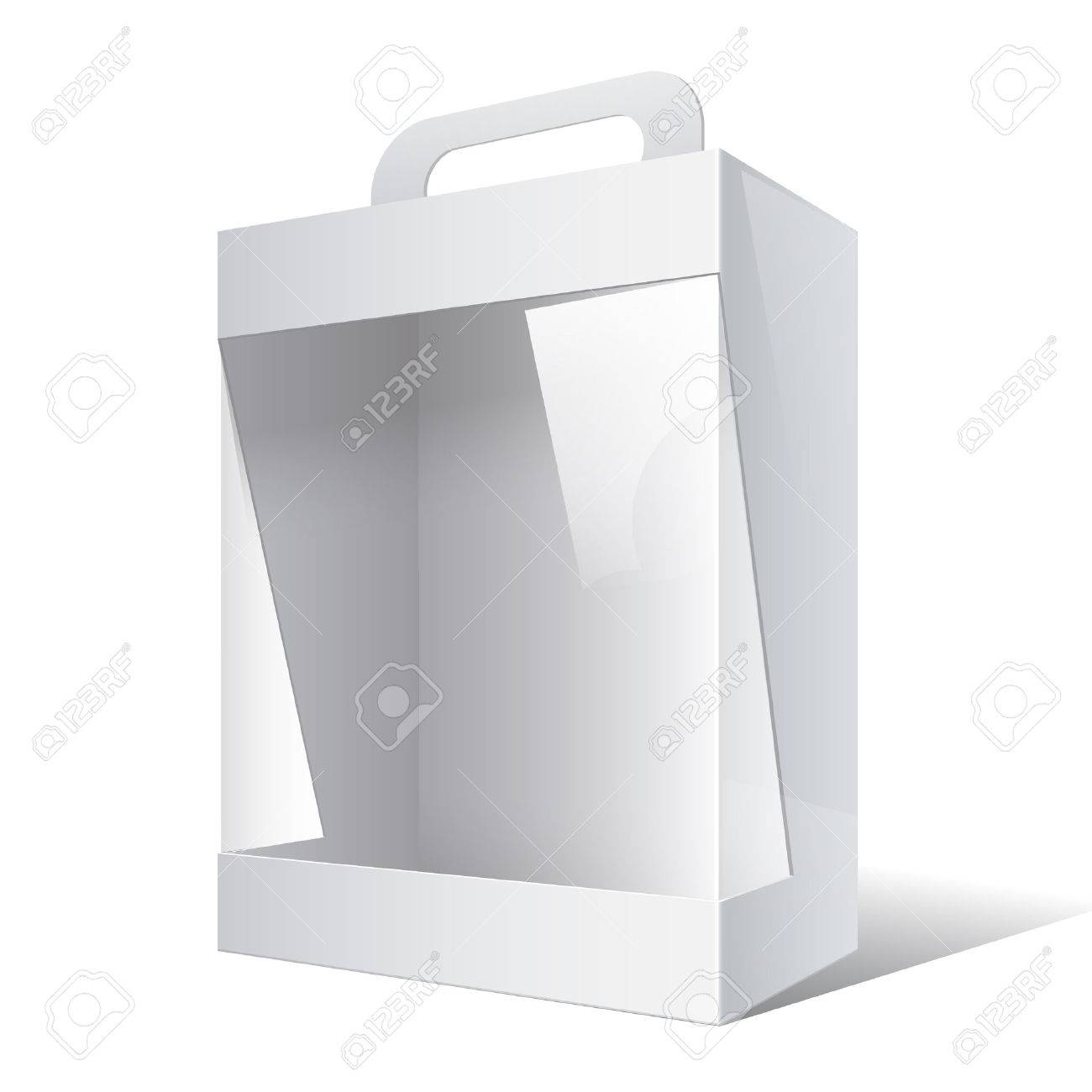 Light Realistic Package Cardboard Box with a handle and a transparent