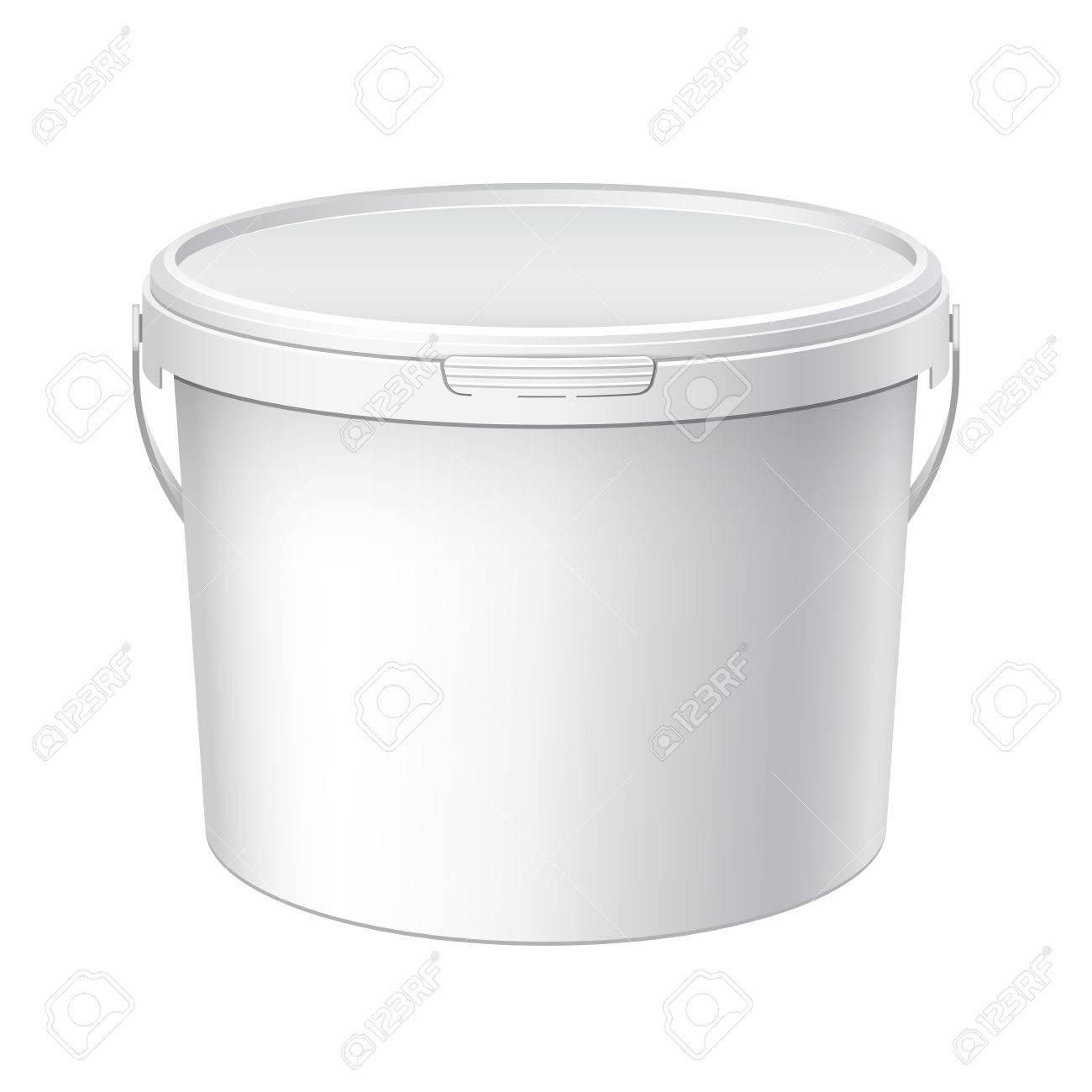 Plástico Blanco Cubo Grande Con Tapa Blanca. Empaquetado Del ...