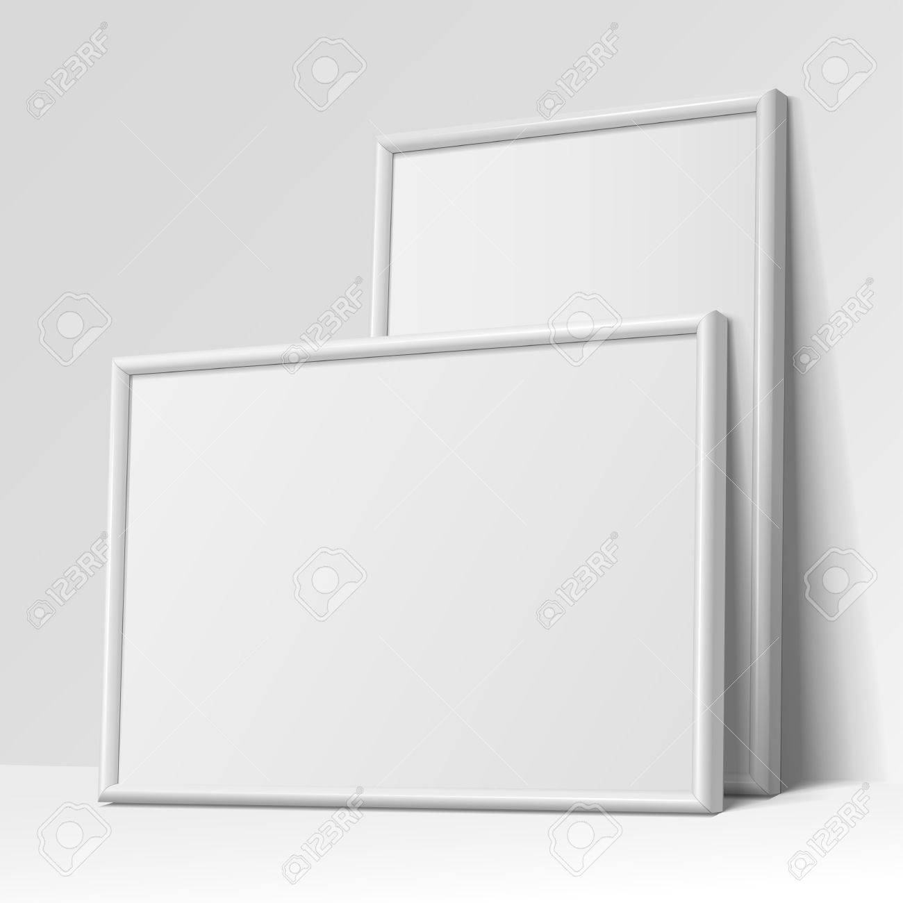 Realistic White Horizontal And Vertical Frame For Paintings Or ...