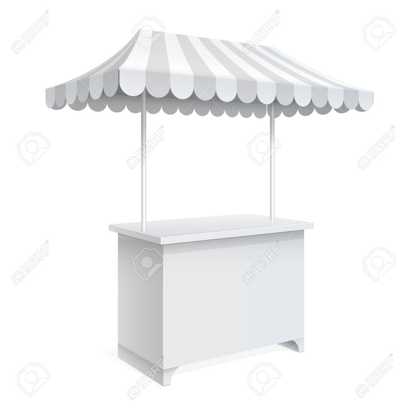 Promotion Counter On Wheels And A Triangular Roof Covered With Striped Awning Retail Trade Stand