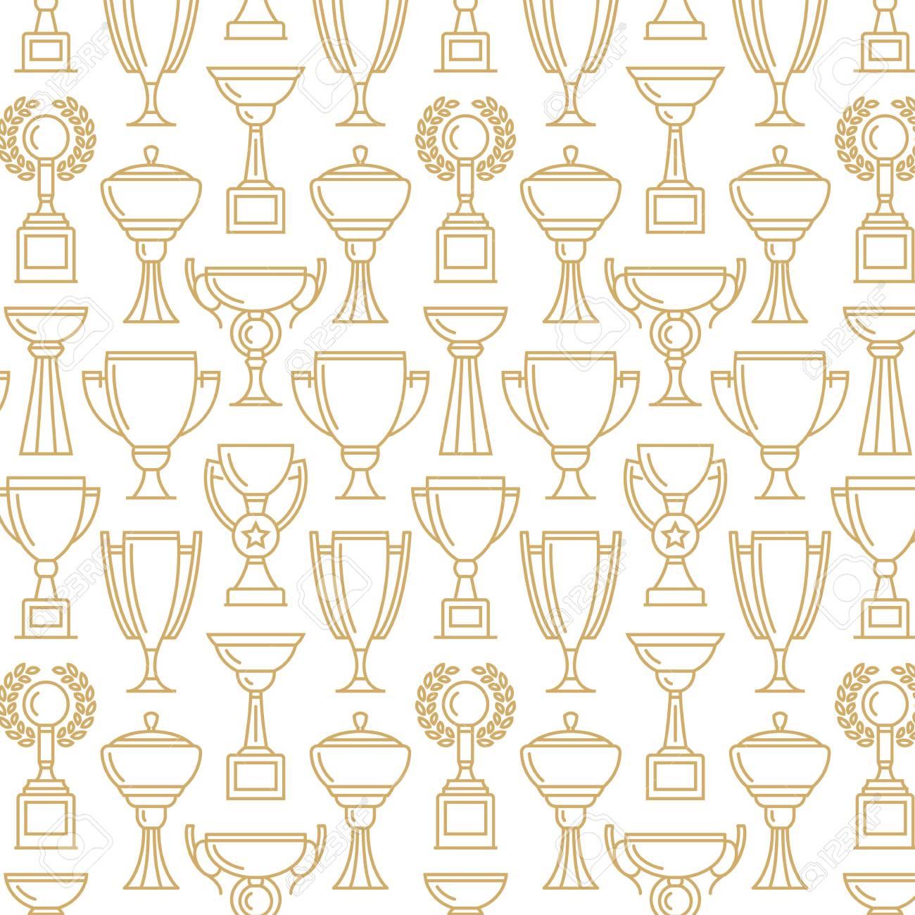 Vector Ganador Taza. Patrón Sin Costuras Fondo De Deporte. Diseño ...