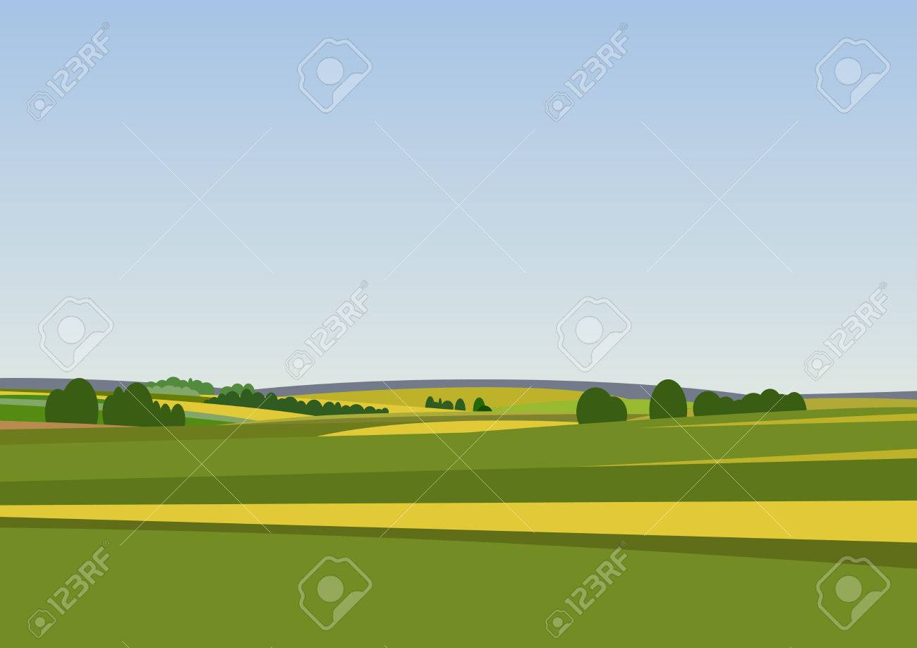 Green landscape with yellow fields. Lovely rural nature. Unlimited space. Vector illustration. - 54789426