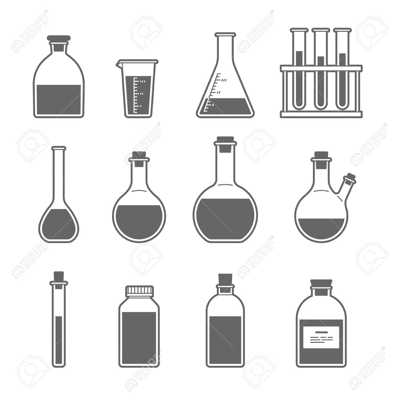 set chemical flask. erlenmeyer flask, distilling flask, volumetric