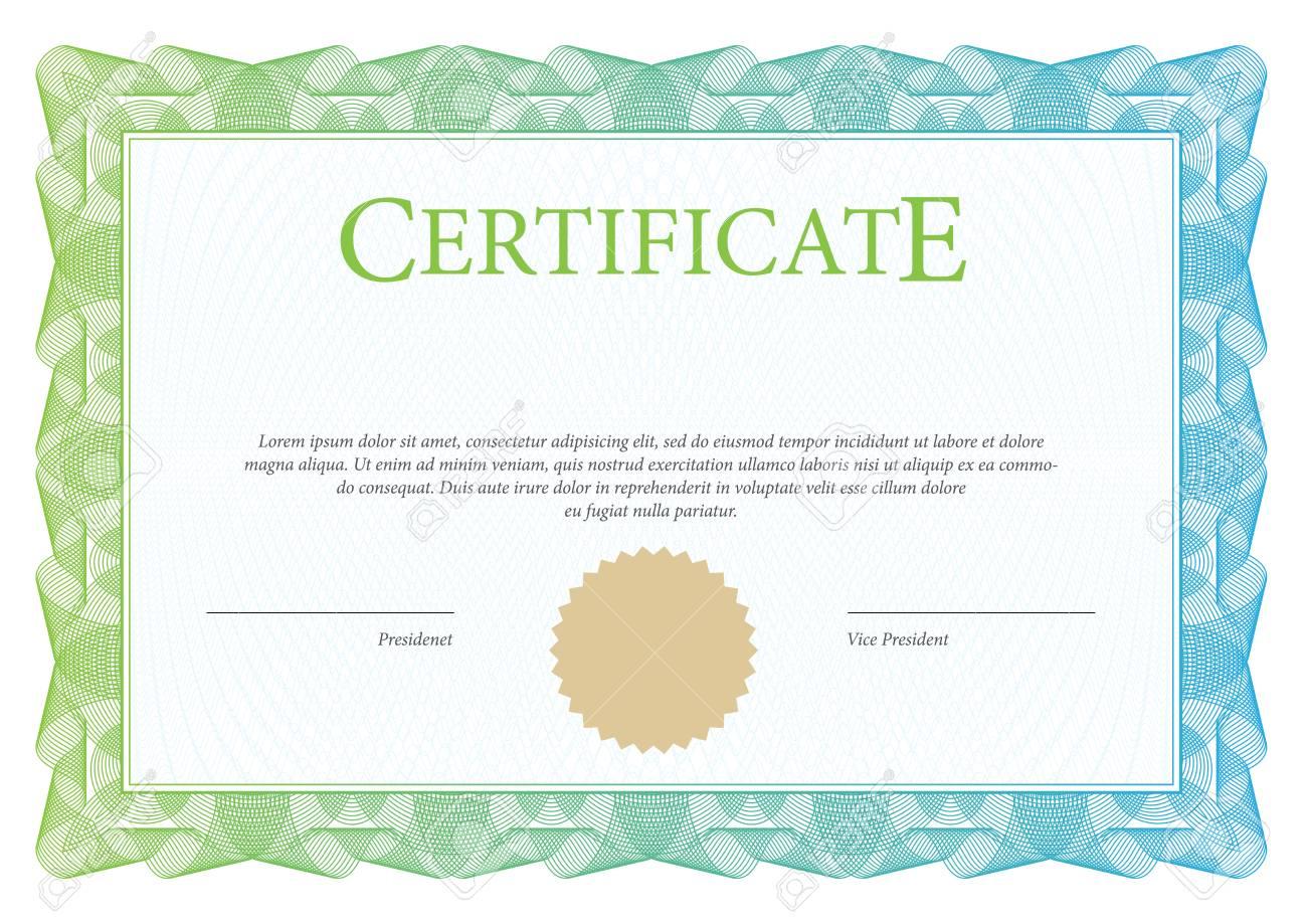 Zertifikat. Vorlage Diplom Währung. Auszeichnung Hintergrund ...