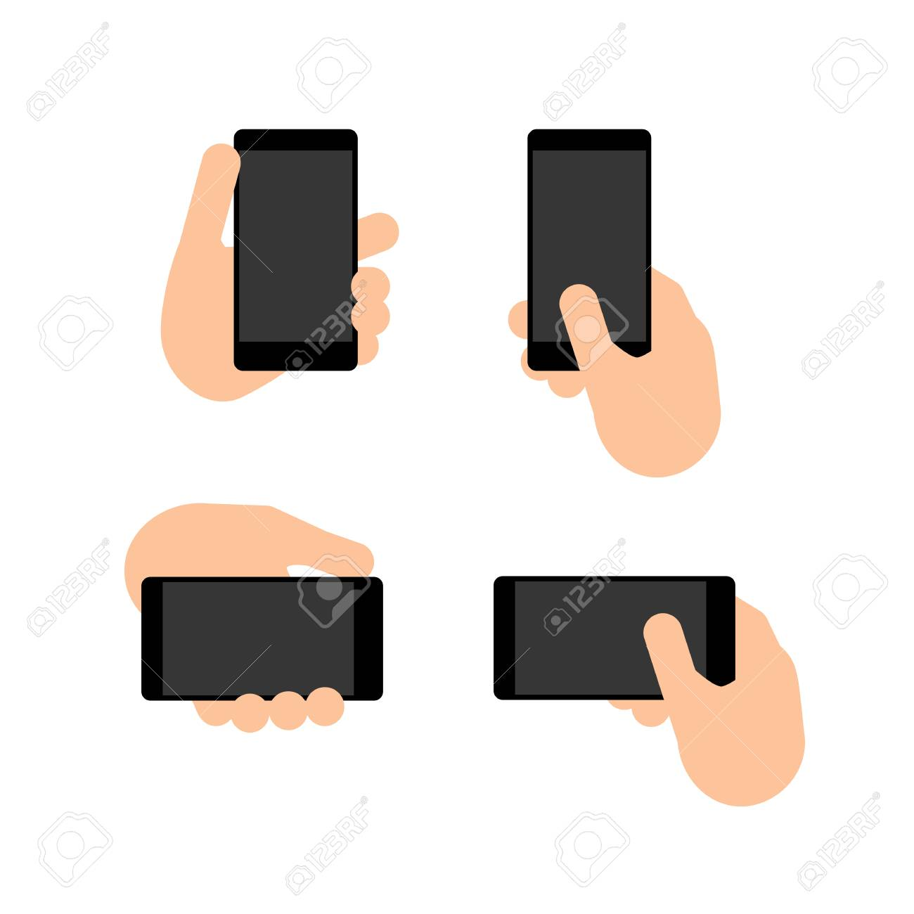 hand holds a smart phone in vertical and horizontal position