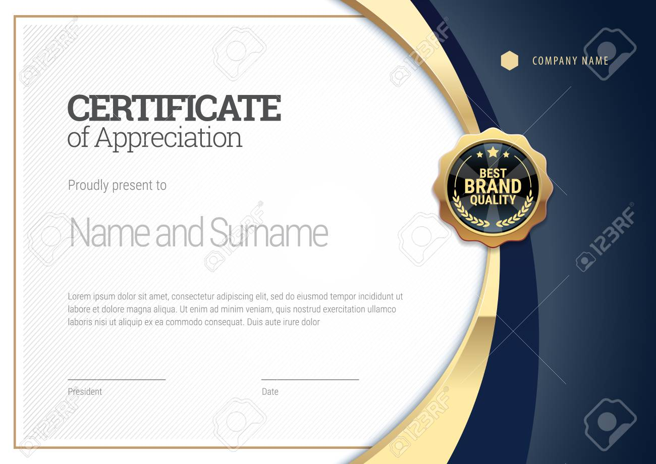 Certificate Template With A Gold Stripe Diploma Of Modern Design