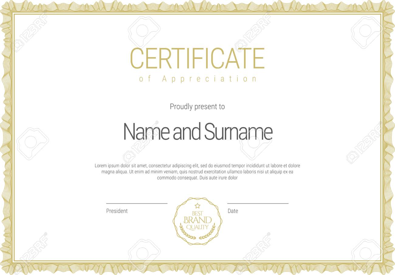 Certificate Template Diploma Of Modern Design Or Gift Certificate