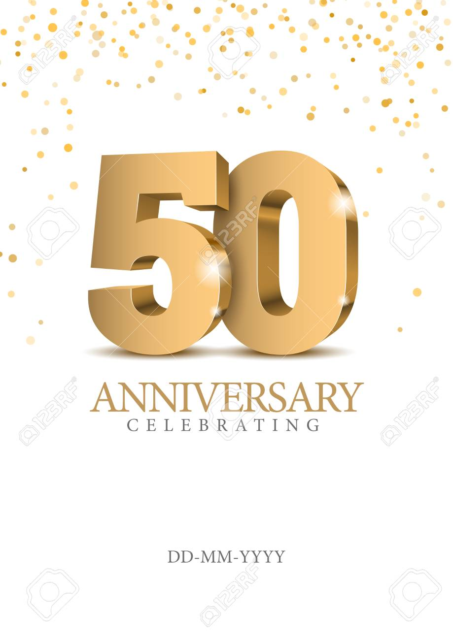 Anniversary 50. Gold 3d numbers. Poster template for celebrating 50th anniversary event party. Vector illustration - 109807679