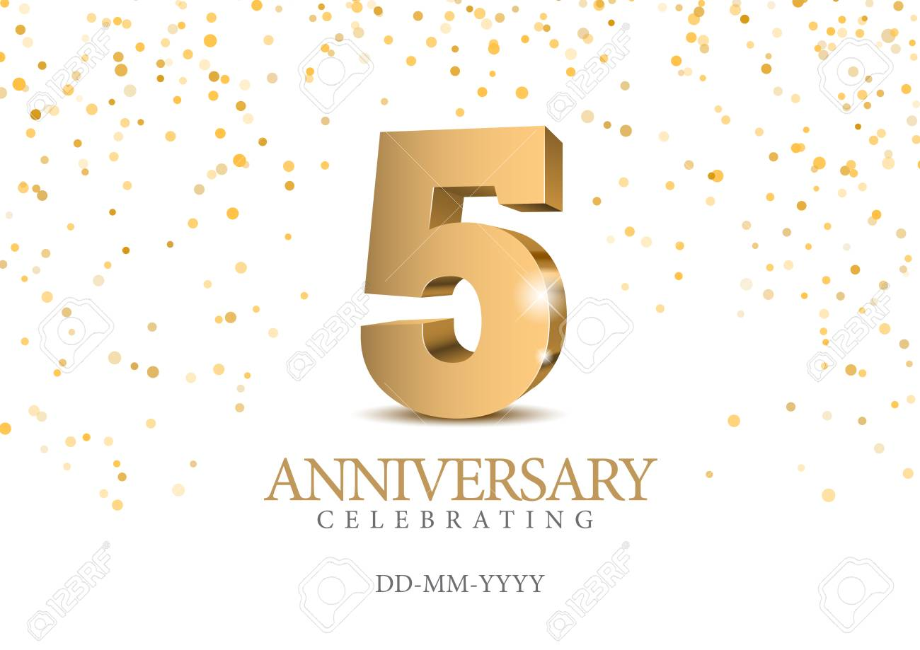Anniversary 5. gold 3d numbers. Poster template for Celebrating 5th anniversary event party. Vector illustration - 115107962
