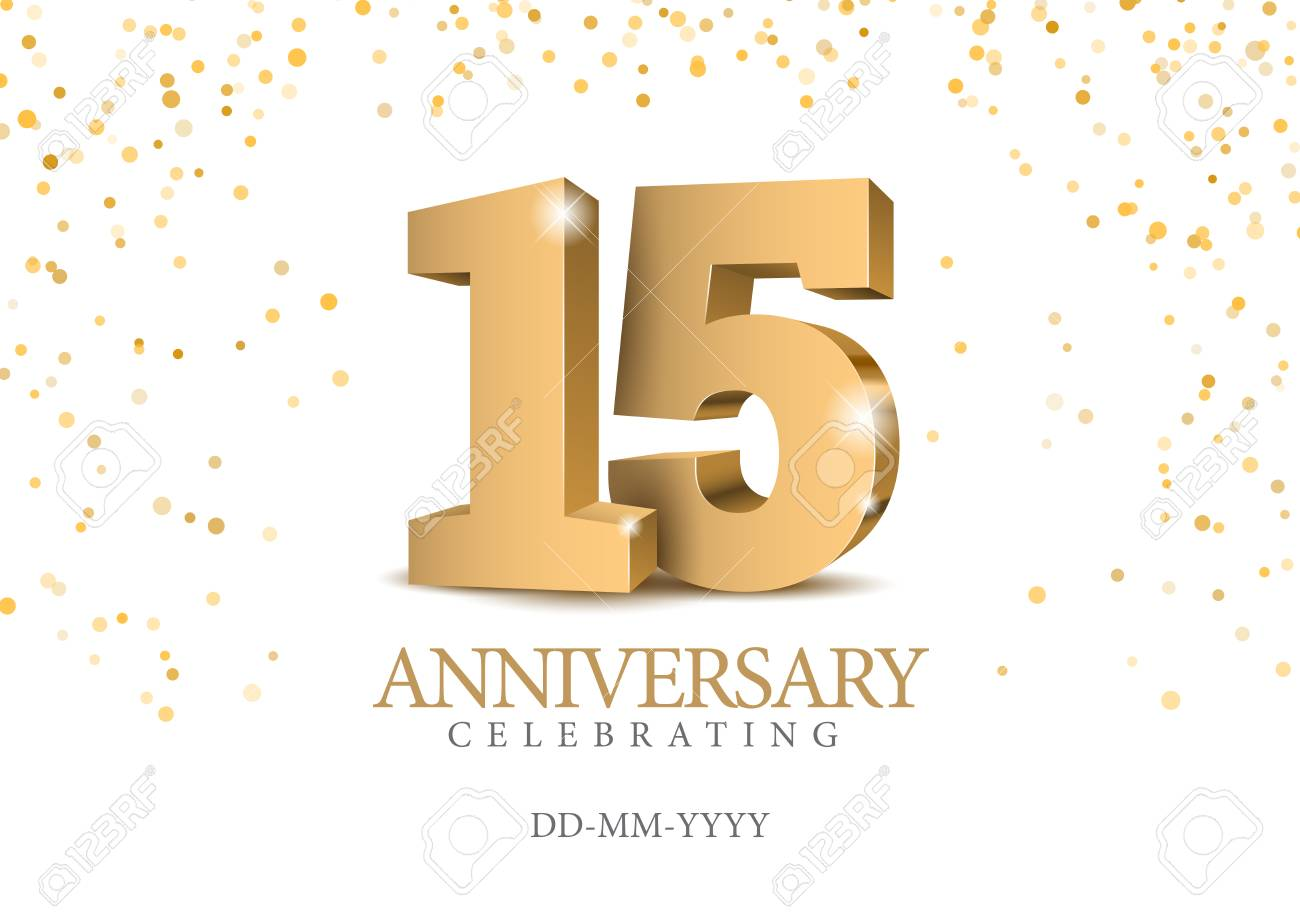 Anniversary 15. gold 3d numbers. Poster template for Celebrating 15th anniversary event party. Vector illustration - 115107981