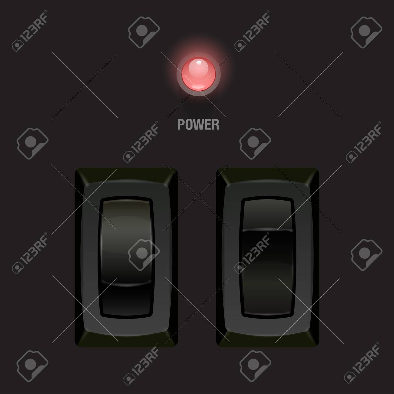 Cool Realistic Toggle Switch black color  Vector illustration