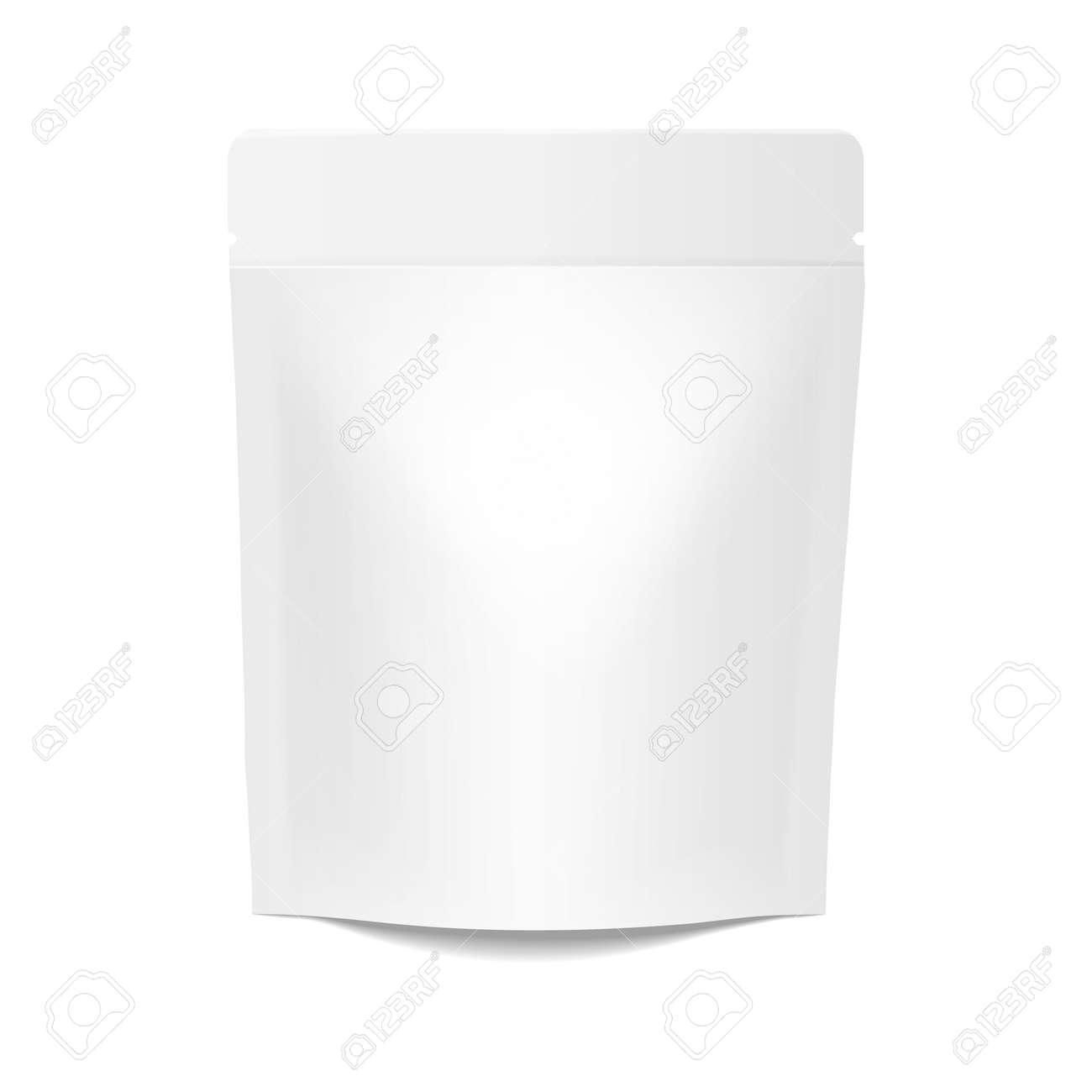 White realistic Polyethylene bag. Mock up for brand template - 166397372