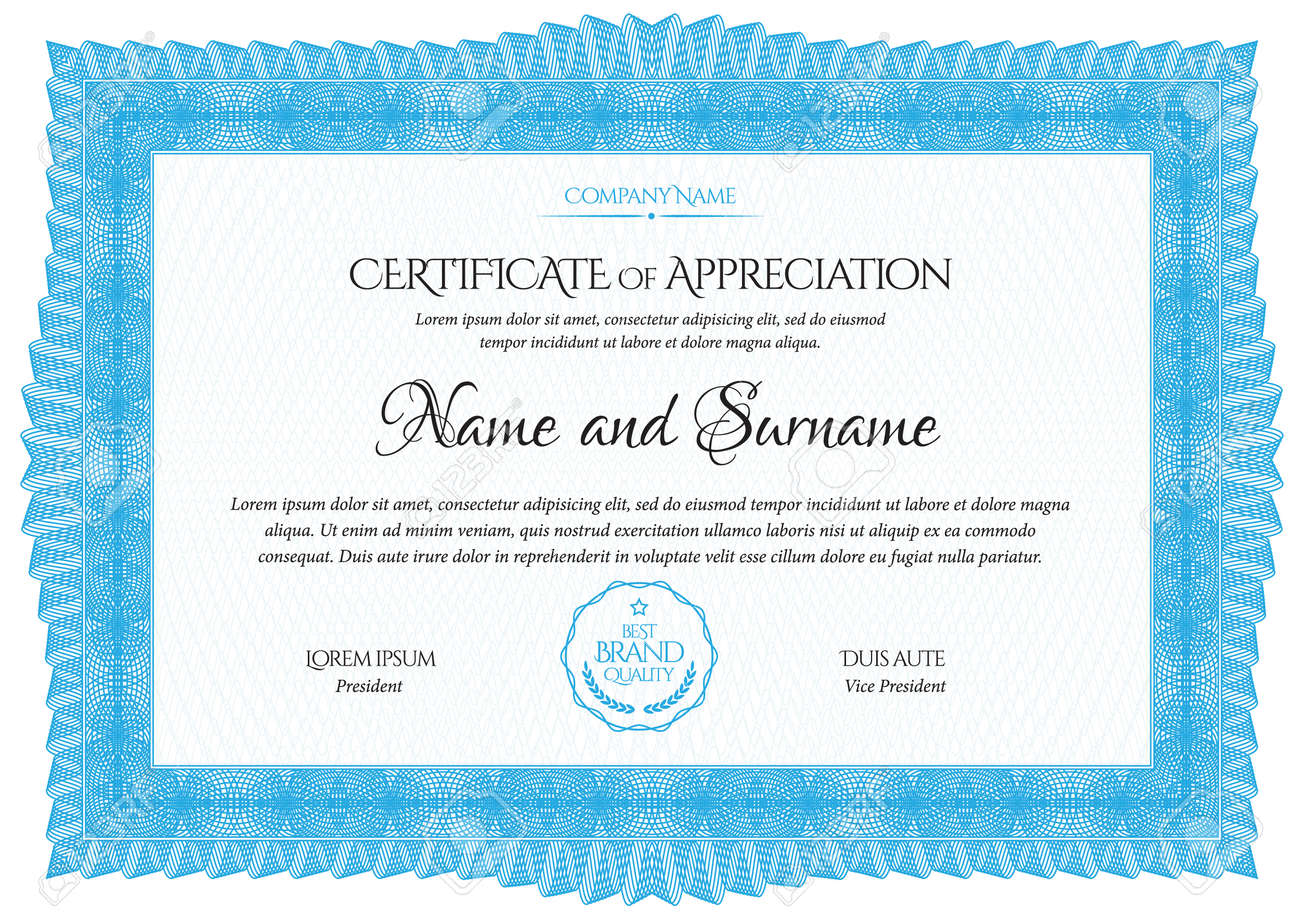 Certificate Template. Diploma of modern design or gift certificate. Frame from guilloche pattern. Elegant and expensive design. Vector illustration. - 168499935