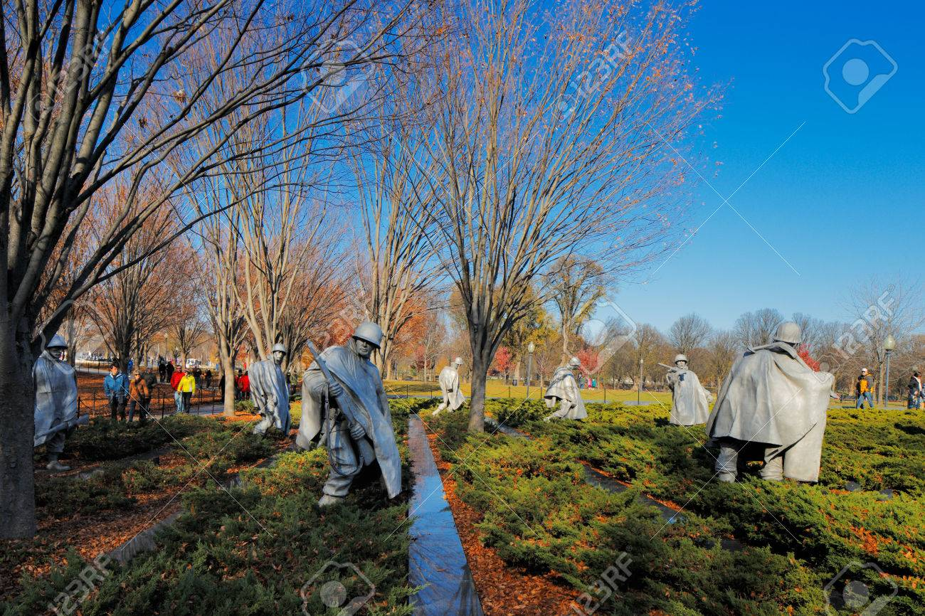 The Korean War Veterans Memorial in Washington DC, USA  It commemorates those who served in the Korean War, located in West Potomac Park, southeast of the Lincoln Memorial  Stock Photo - 25485421