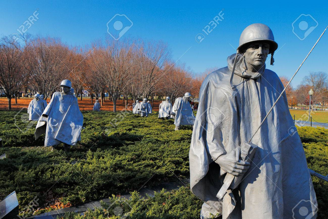 The Korean War Veterans Memorial in Washington DC, USA  It commemorates those who served in the Korean War, located in West Potomac Park, southeast of the Lincoln Memorial  Stock Photo - 25485424