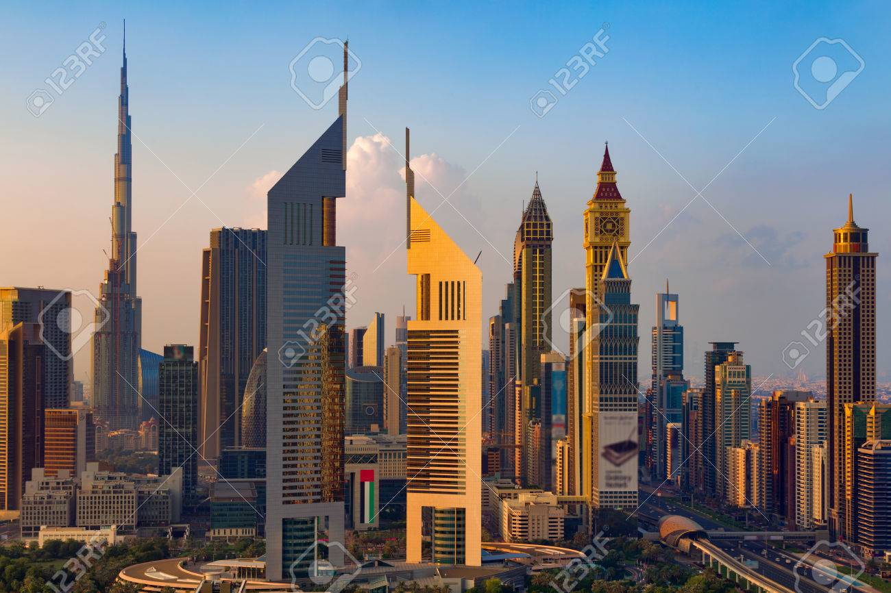 a skyline view of dubai uae showing the buildings of sheikh stock