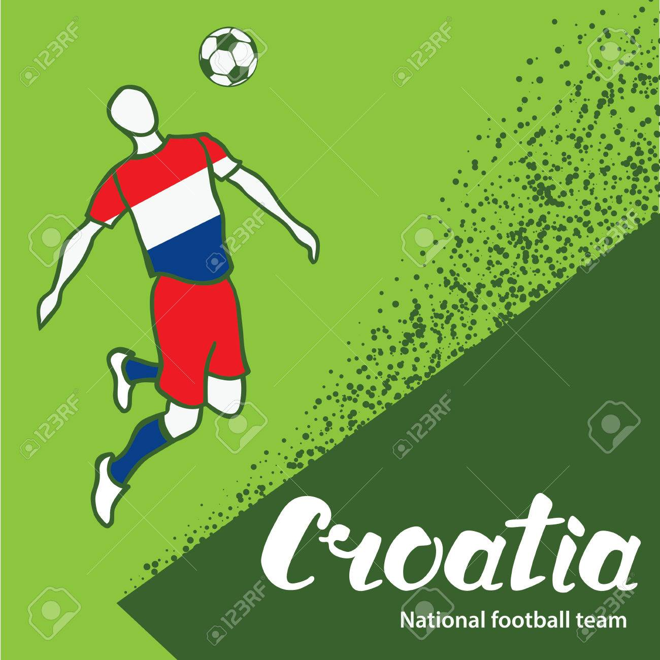 Croatia. National team of Croatia. Vector illustration with the football  player and the ball ea692db30