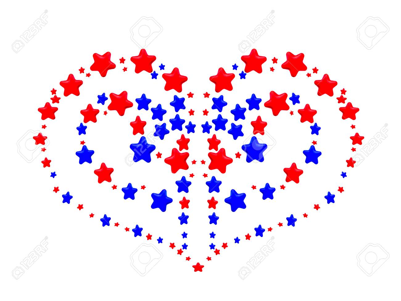A Heart Pattern Created From Red And Blue Stars On White Background