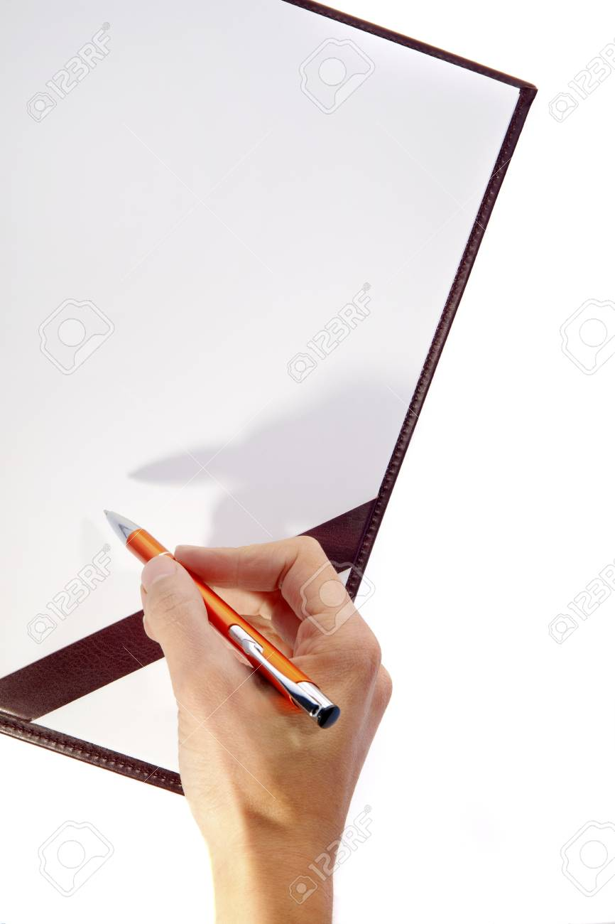 Board with Writing Hand and Pen Stock Photo - 11431741