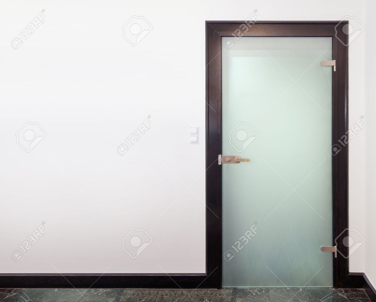 Charmant Modern Glass Door   Wood And Frozen Glass Stock Photo   14098089