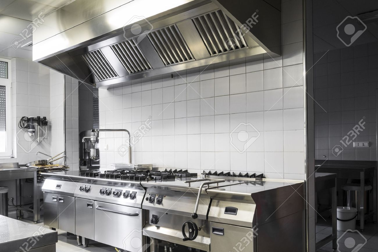 Modern Industrial Kitchen, White And Silver Interior Stock Photo ...