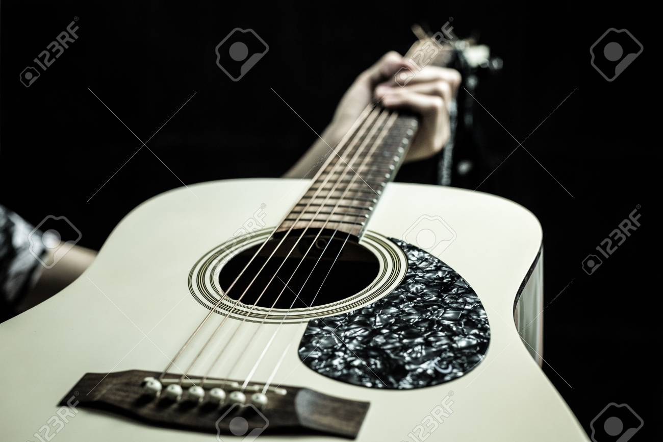 Beautiful Acoustic Guitar On Black Background Stock Photo Picture