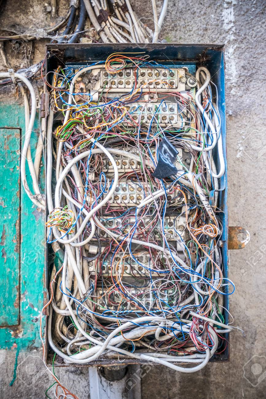 Old Electrical Box With A Mess Of Wires Stock Photo, Picture And ...