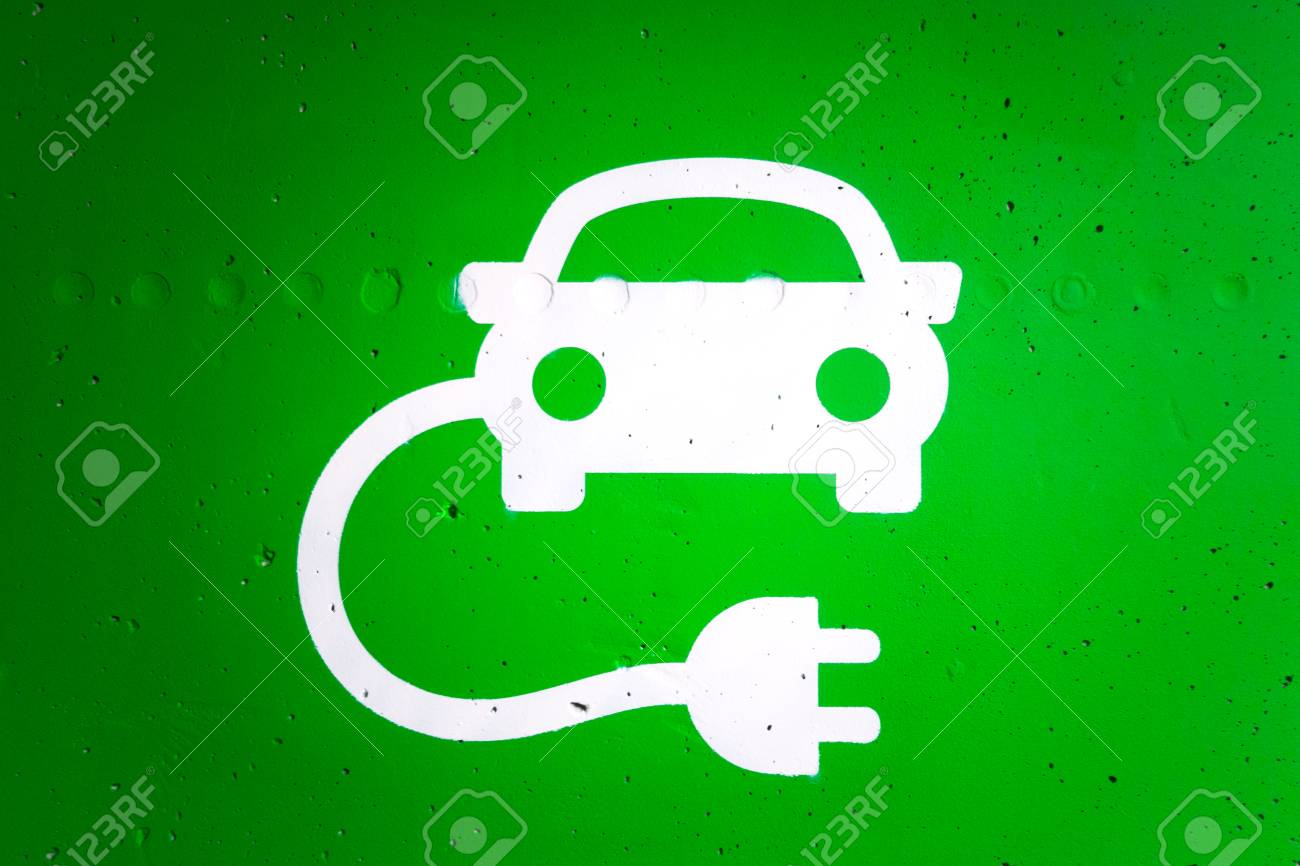 Green And While Electric Car Charging Station Graphic Symbol. Stock ...