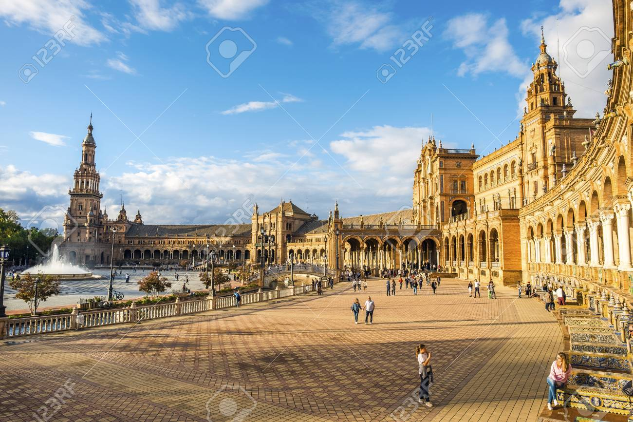 Spain Square In Parque De Maria Luisa With Many Tourist Seville