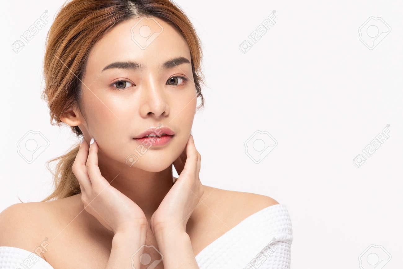Beauty asian women touching soft chinskin close up face beauty . - 151718445