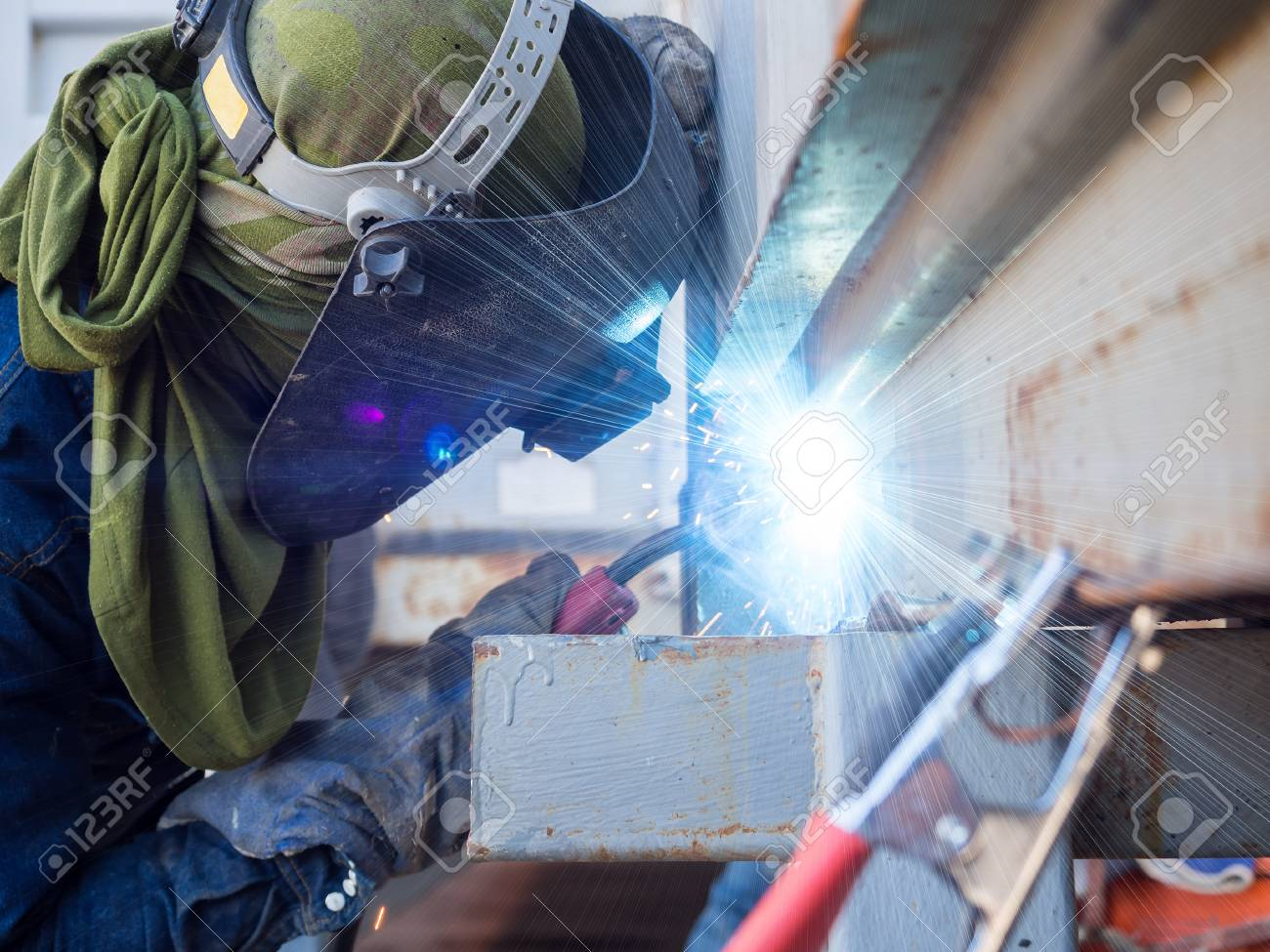 Operator Welding Machine Structure By Mig Welding Stock Photo Picture And Royalty Free Image Image 68994309