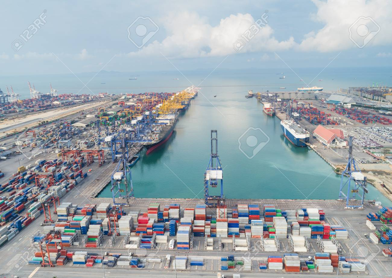 Landscape Sea ports on day time, Shipping seaport, Import seaport,