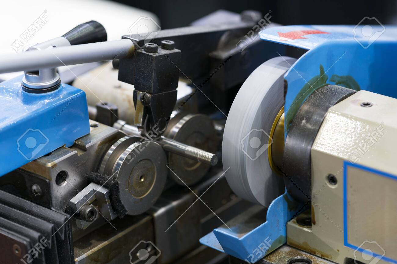 automotive industrial metal work machining process by cutting tool on CNC grinding, High precision pin grinding process. - 122311374