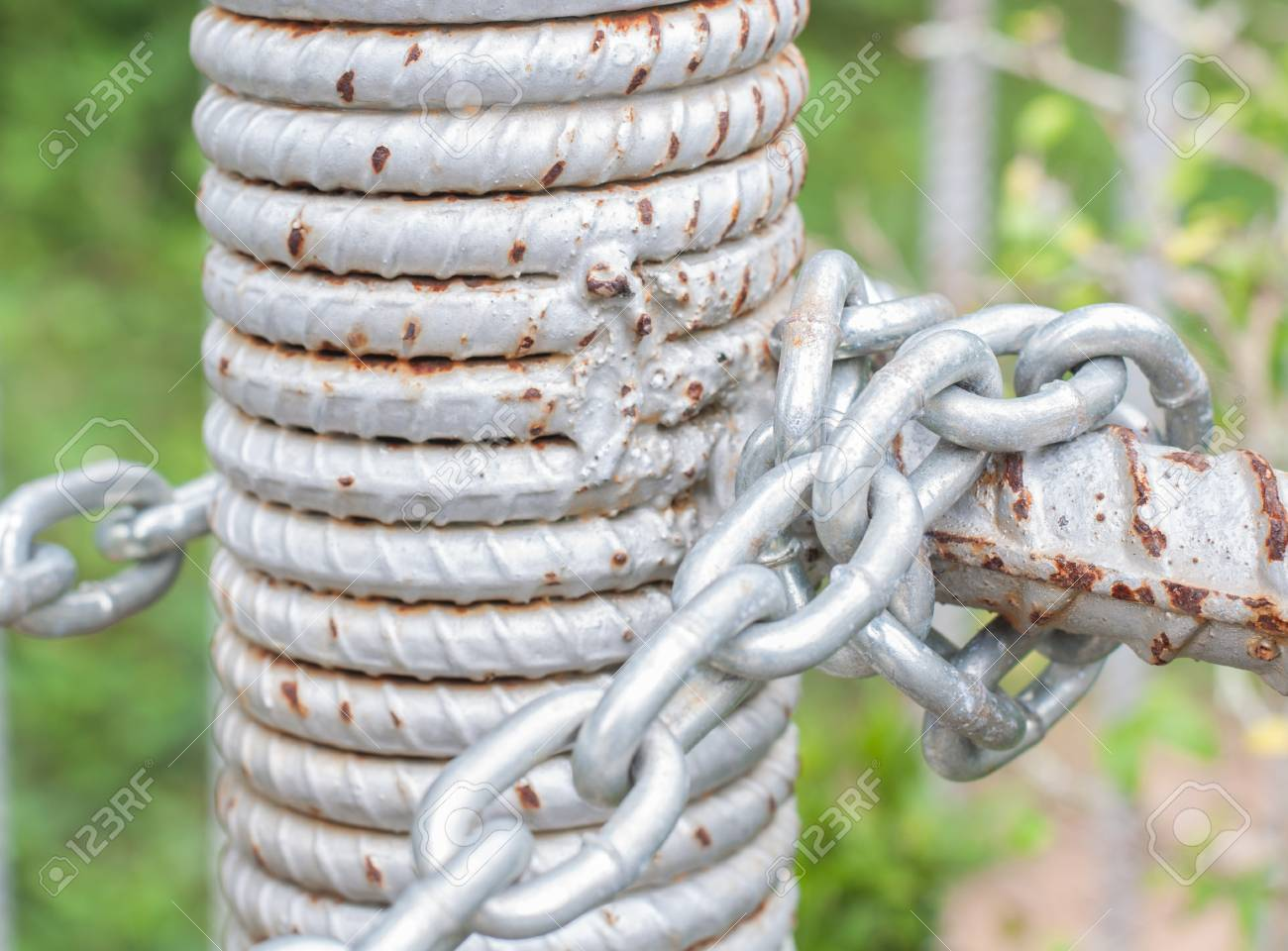 The chain linked fence home to safety Stock Photo - 15802167