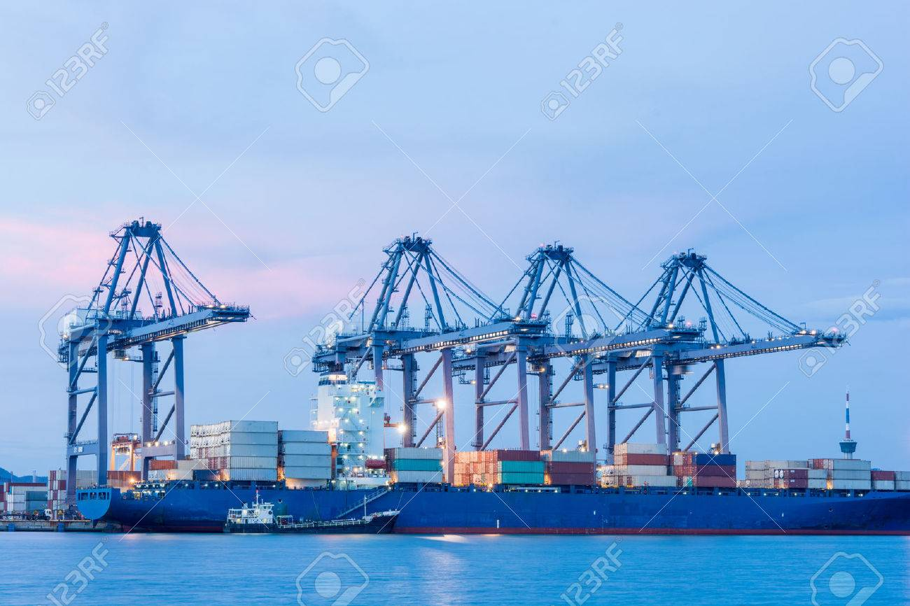 Industrial shipping port or Cargo sea port of Thailand