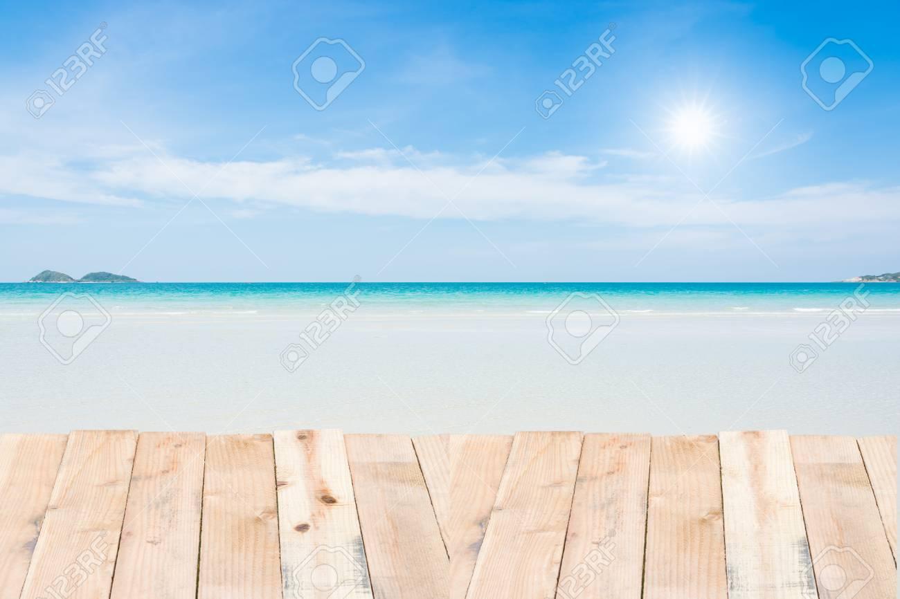 Beauty Holiday Wood Terrace On Beach Blue Sky Stock Photo   40893396
