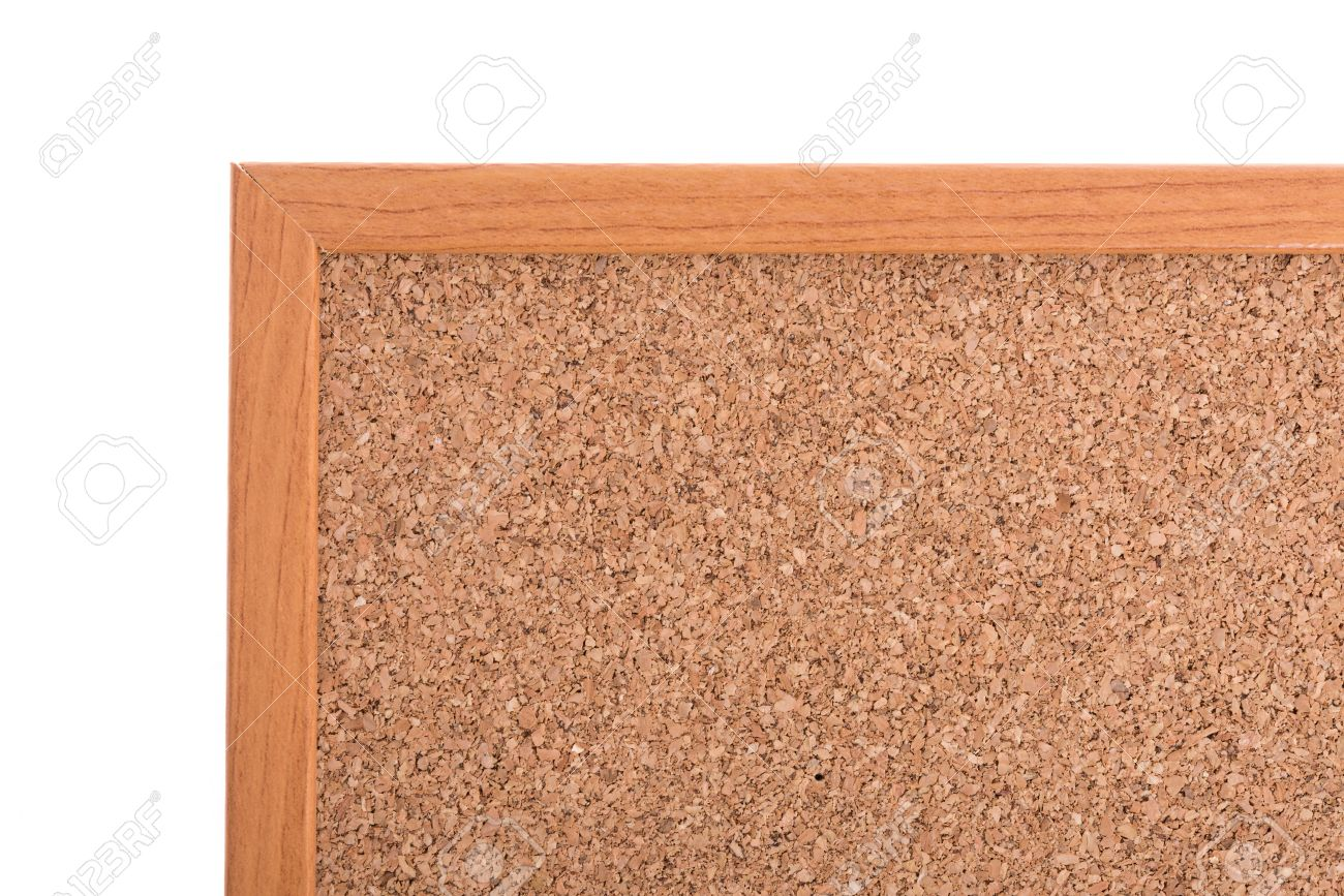 brown cork pin board frame isolate on white background stock photo